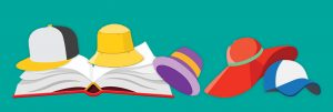 Illustrated image of a book and hats.