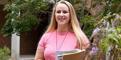 Student Ashley Gray outside on the campus of SCC.