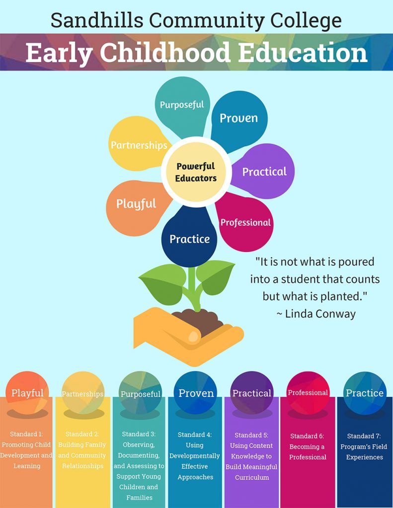 Infographic showing seven standards that make a powerful educator made to look like a plant with each petal a standard. Standard 1: Playfulness promotes child development and learning. Standard 2: Partnerships build family and community relationships. Standard 3: observing, documenting and assessing to support young children and families. Standard 4: using developmentally effective approaches. Standard 5: using content knowledge to build meaningful curriculum. Standard 6: becoming a professional. Standard 7: Program's field experiences. The image also shares a quote by Linda Conway: It is not what is poured into a student that counts but what is planted.