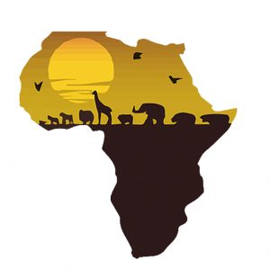 Silhouette of Africa with an illustration of animals and a sun inside.