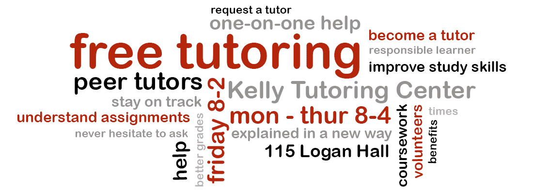Free Tutoring in the Kelly Tutoring Center, M-Th 8-4 and Friday 8-2