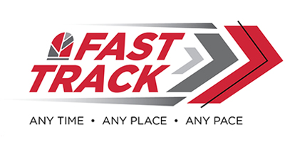 """Fast Track logo with text that read, """"Any Time, Any Place, Any Pace."""""""