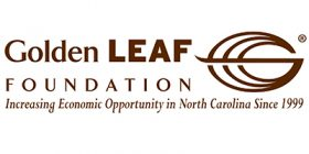 """Golden Leaf Logo, text that reads, """"Increasing Economic Opportunity in North Carolina Since 1999."""""""