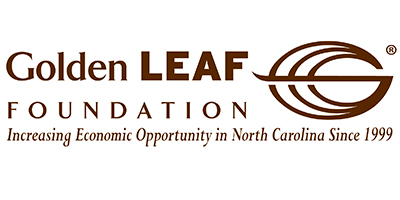 "Golden Leaf Logo, text that reads, ""Increasing Economic Opportunity in North Carolina Since 1999."""