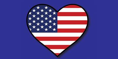 Blue background, heart shape, with an American flag inside.