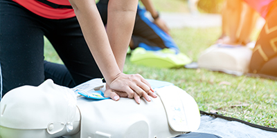 Student in CPR training.