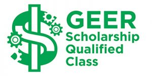 """Green GEER Scholarship logo, with text that reads, """"GEER Scholarship Qualified Class."""""""