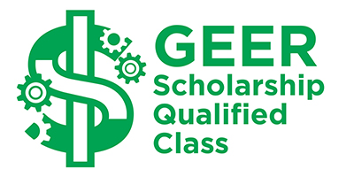 "Green GEER Scholarship logo, with text that reads, ""GEER Scholarship Qualified Class."""