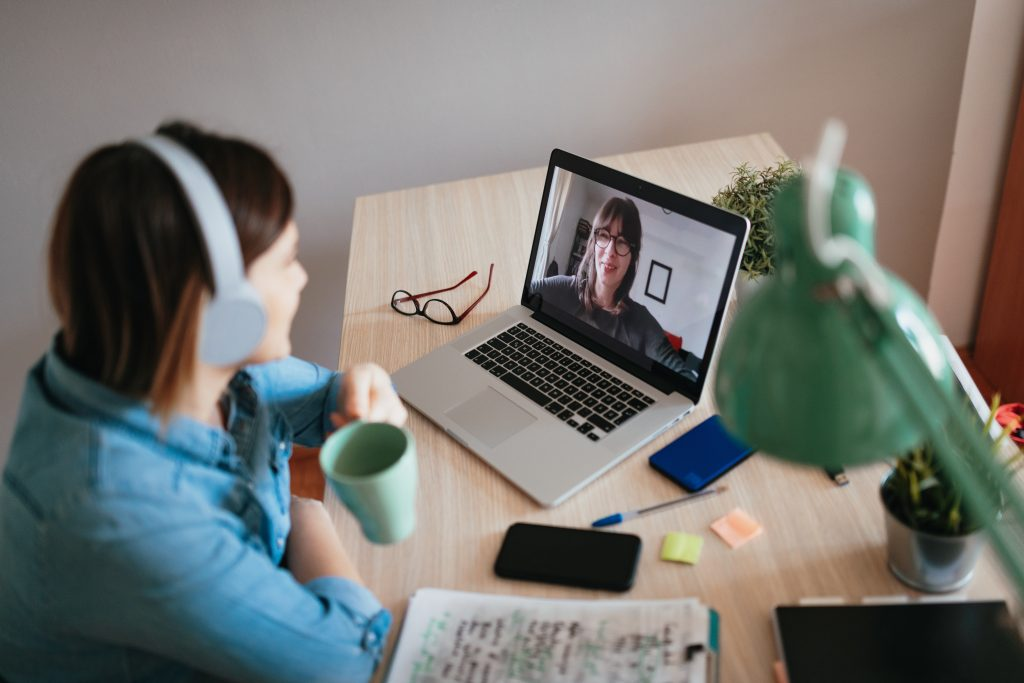 Student on a video chat.