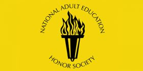 """Yellow background, with text that reads """"National Adult Education Honor Society,"""" and their logo."""