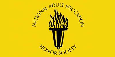 "Yellow background, with text that reads ""National Adult Education Honor Society,"" and their logo."