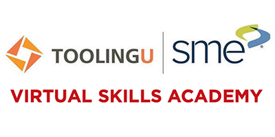 "White background. ToolingU and SME logos. Text that reads, ""Virtual Skills Academy."""