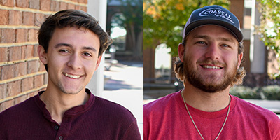 Colton DeLancy, on left, and Colton Long, right, both posing for photos on the SCC campus.