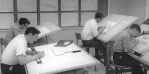Archive photo dating back to the mid-60s taken in a drafting class.