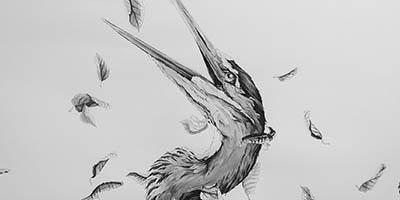 Close up of Alexander Landerman's artwork of a heron.