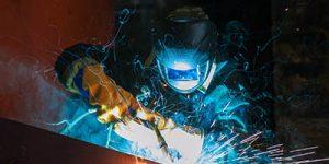 Close up of welder working.